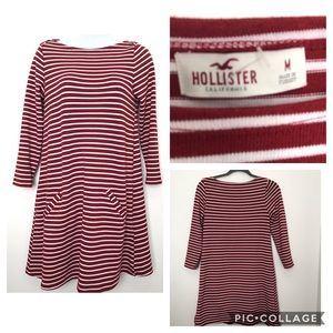 Hollister Burgundy and White Striped Dress